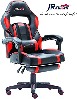 JR Knight LC-04 Ergonomic Gaming Chair with Footrest, Professional Gamer Design Home Office Computer Executive Swivel Racing Chair, PU Leather Padding Desk Chair (Black&Red)