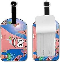 4 Packs Luggage Tags,SpongeBob SquarePants Travel ID Luggage Tag PU Leather Women And Men Handbag Tag