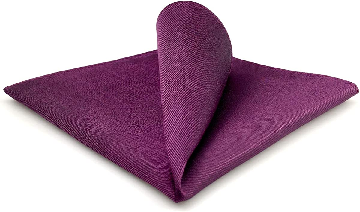 SHLAX&WING Solid Purple Mens Silk Pocket Square Large For Business Wedding