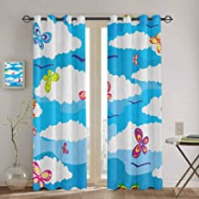 Homrkey Spring Shading Insulated Curtain Fluffy Clouds and Colorful Butterflies Flying in The Air Summer Season Image Soundproof Shade W42 x L90 Inch Sky Blue White
