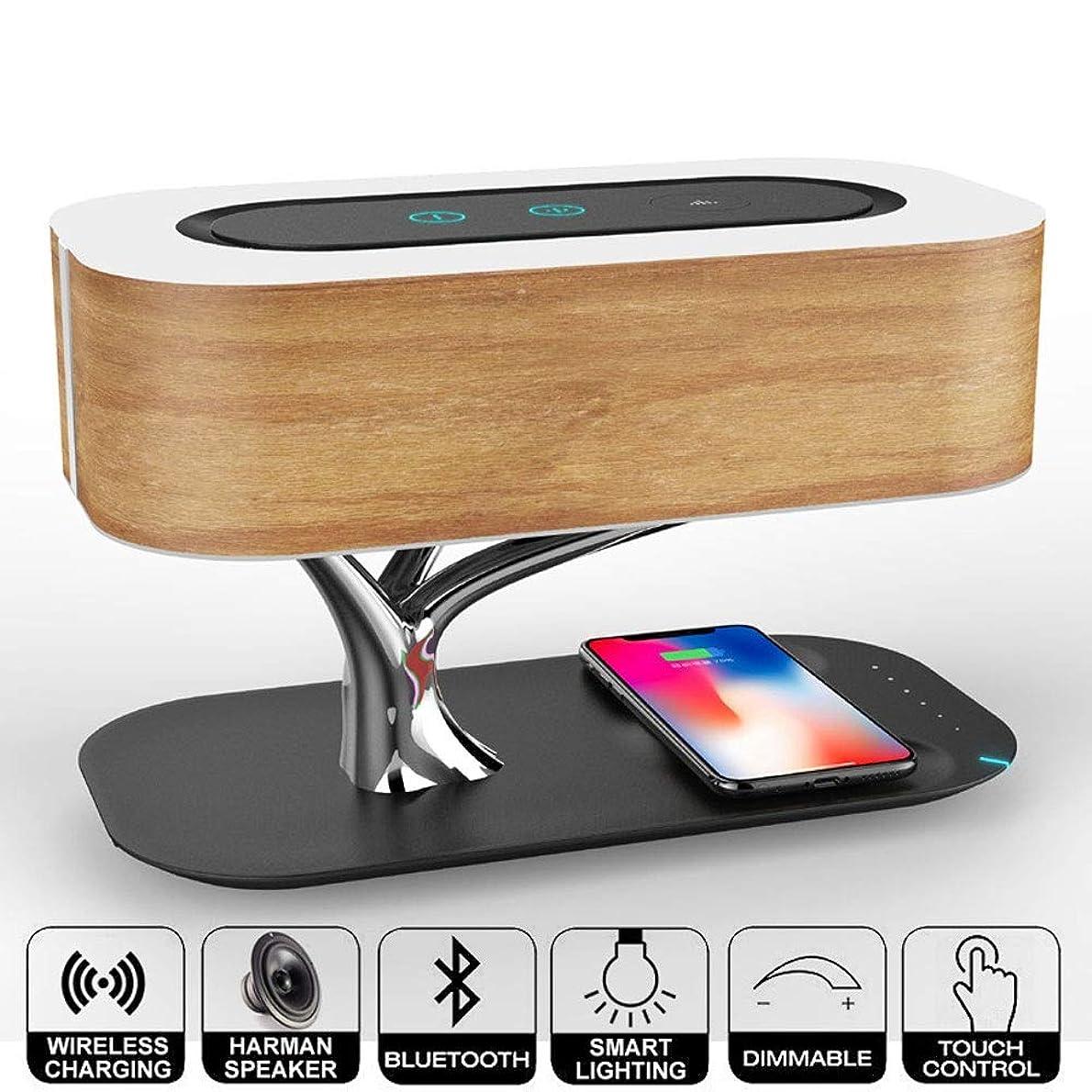 マンモスハンサム読みやすさ1ワイヤレス充電(Bluetoothスピーカー+ベッドサイドランプ+ワイヤレス充電)に付き携帯電話ワイヤレス充電器3、無段階調光ベッドヘッドアンビエントライトスピーカー携帯電話ワイヤレス充電