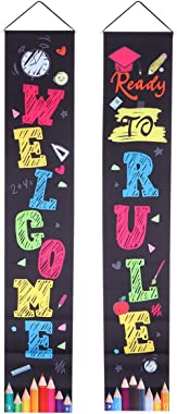 BESTOYARD Back to School Porch Sign Oxford Entrance Door Curtain Banner School Day Party Decor with Hanging Rope 180x32cm