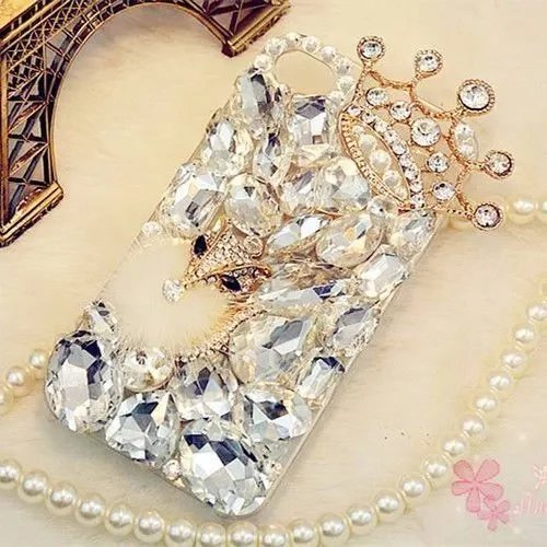 iPhone 7 Plus Crystal Diamond Case,iPhone 7 Plus Rhinestone Case,Luxury Fox Head Crown Crystal Rhinestone Diamond Bling Clear Hard Back Phone Case Cover For iPhone 7 Plus