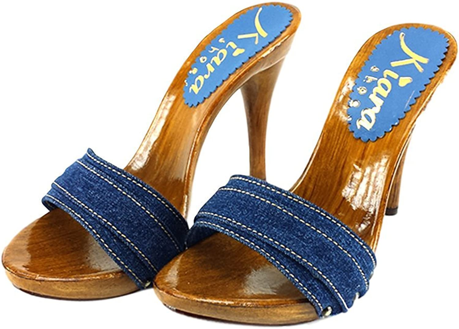 Kiara shoes Denim high Heel Clogs Heel 12 - KM7101 Denim