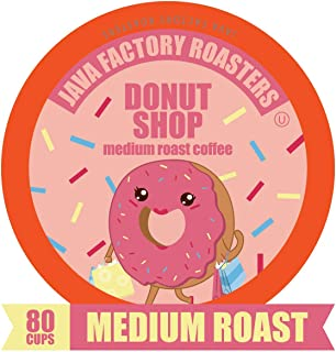 Donut Shop Blend by Java Factory, Medium Roast Coffee Pods for Keurig K Cup Brewers, 80Count