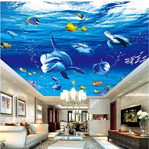 Pbbzl 3D-behang onderwaterwereld dolfijn plafond wanddesign woonkamer slaapkamer aquarium woonkamer behang 200 x 140 cm
