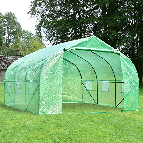 charaHOME Green House(12'x10'x7'),Heavy Duty Walk in Outdoor Gardening Greenhouse Tent Portable Plant Large Hot House with Double Zipper, Green