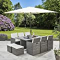 Bella Life 11 Piece / 10 Seater   PE Rattan Cube Table, Chair, Stool Dining Set   Garden Furniture (with Parasol, Grey) from AGTC Ltd