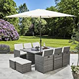 Bella Life 11 Piece / 10 Seater | PE Rattan Cube Table, Chair, Stool Dining Set | Garden Furniture (with Parasol, Grey)