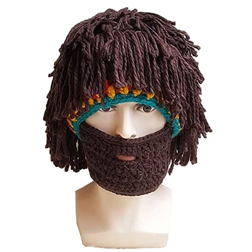8deade377e6 Flyou Wig Beard Hats Handmade Knit Warm Winter Caps Ski Funny Mask Beanie  for Men Women