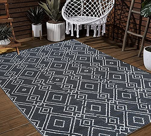 TIDYON 4 x 6 FT Outdoor Rugs for Patios Clearance Plastic Straw Rug Reversible Mats Large Camping Rugs for Outdoor ,RV, Patio,Camping (Grey & White, 4' x 6 ')