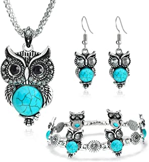 Miraculous Garden 3 Pack Jewelry Sets for Women Girls,Vintage Silver Ethnic Tribal Boho Owl Jewelry Sets Turquoise Pendant Necklace Drop Earrings Charm Bracelet Set.