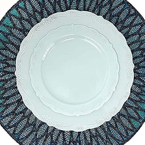 Piatti piani infrangibili in plastica dura da 7,5 pollici e 10,25 pollici e piatti leggeri per insalata-venduti 25 pezzi in una confezione (Piatto in rilievo blu da 7,5 pollici 19 cm 25 pezzi)