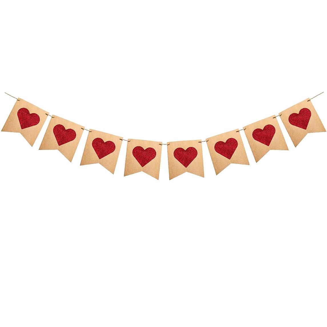 Glitter Heart Valentines Day Decorations - Kraft Paper Red Heart Decor for Valentines Day Backdrops Wedding Birthday Party Supplies