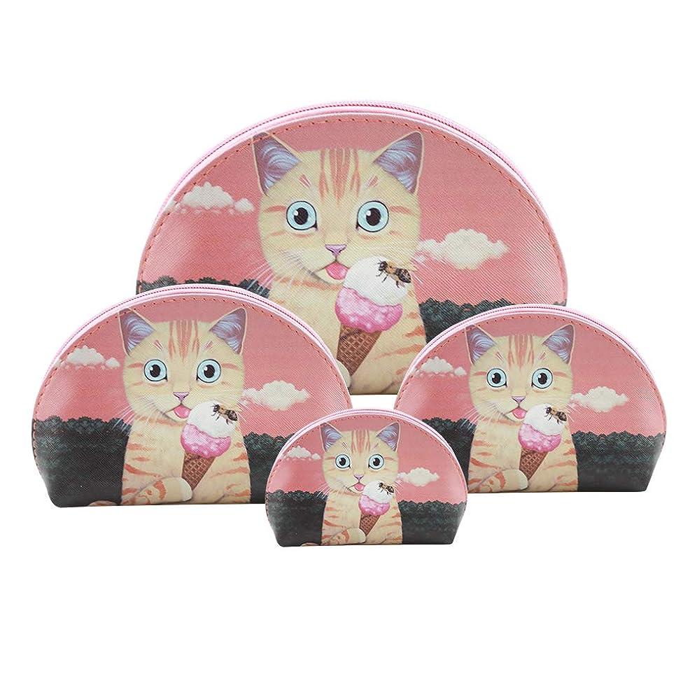 腹痛中傷デュアルF.ZH 化粧ポーチ メイクポーチ 四連ポーチ ミニ 財布 機能的 大容量 化粧品収納 小物入れ 可愛い 猫柄 犬柄 普段使い 出張 旅行 メイク ブラシ バッグ 化粧バッグ 4セット (ピンク)