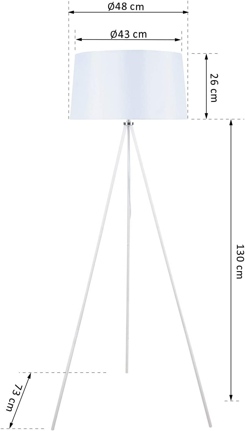 HOMCOM Stehlampe Tripod Schlafzimmer Standleuchte Stehleuchte 40 W Skandinavisch Stoff + Metall schwarz ∅48 x 156 cm Weiß