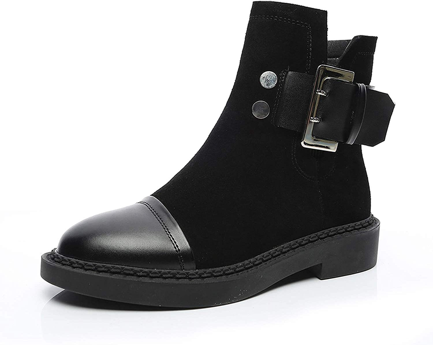 Women Boots Genuine Leather Ankle Boot Warm Plush Black Boot Female Round Toe