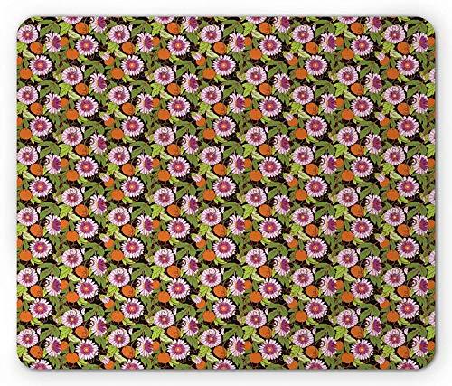 Tropisches Mauspad, blühende Passiflora-Pflanze mit Blättern und Früchten Abstrakte exotische üppige Dschungelpflanze, Rechteck-Rechteck-Rutschgummi-Mousepad, mehrfarbig