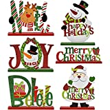 6 Christmas Table Decorations for Dinner Party Coffee Table Snowman Santa Reindeer Noel Joy Believe Merry Christmas Happy Holidays Centerpiece