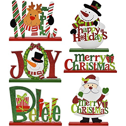 6 Christmas Table Decorations for Dinner Party Coffee Table Snowman Santa Reindeer Noel Joy Believe Merry Christmas Happy Holidays Centerpiece