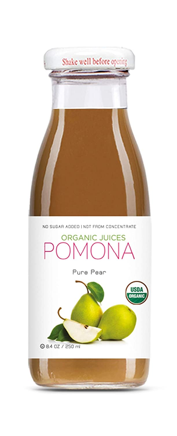 Pomona Organic Juices Pure Pear Juice, 8.4 Ounce Bottle (Pack of 12), Cold Pressed Organic Juice, Non-GMO, No Sugar Added, Not from Concentrate, Gluten Free, Kosher Certified, Preservative Free