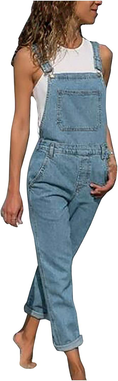 Forwelly Denim Overalls for Women Casual Loose Fit Strap Jeans Romper Summer Long One Piece Jumpsuit