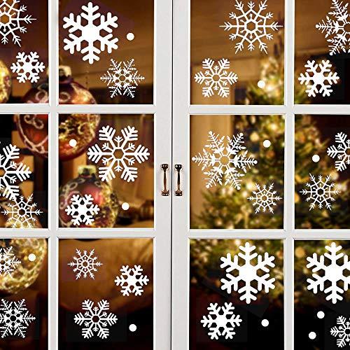 Schneeflocken Fensterbilder, 96 Wiederverwendbar Selbstklebend Statisch PVC Aufkleber Fensteraufkleber Weihnachten Fensterdeko Schneeflocke Fensterbild Weihnachtsbilder Fenster Glas Weihnachtsdeko