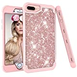 iPhone 6s Plus Case, Ankoe 3D Luxury Glitter Sparkle Bling Shiny Hybrid Sturdy Armor Defender High Impact Shockproof Protective Cover Case for Apple iPhone 6 Plus & 6s Plus (Rose Gold)