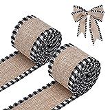 LUTER 2 Rollos 5.5m Navidad Wired Ribbons Búfalo Natural Arpillera de Cinta a Cuadros, Arpillera a Cuadros de Cintas con Cable Decoraciones Cintas Navideñas para Manualidades Estilo (Blanco y Negro)