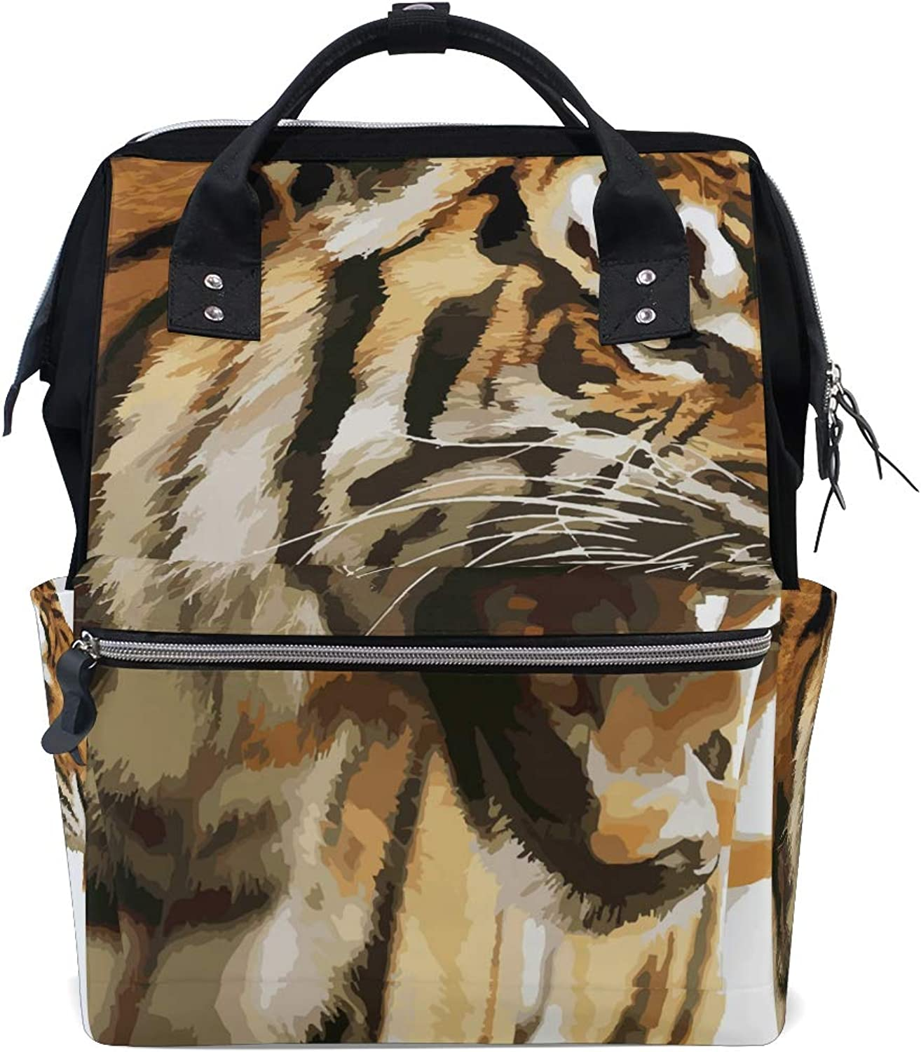 032e9e894b16 FAJRO Tiger Roar PaintingTravel Canvas Handbag School Pack Backpack ...