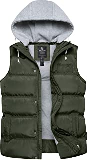 Wantdo Women`s Quilted Padding Puffer Vest Warm Winter Coat with Removable Hood