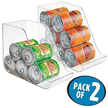 mDesign Canned Food Storage and Soda Organizer for Kitchen Pantry or Cabinet - Pack of 2, Clear