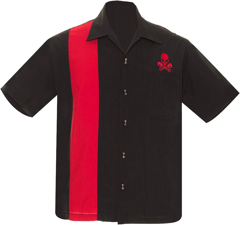 Steady Clothing cheap Men's Skull Piston Bowling Black Up Fashionable Shirt Button