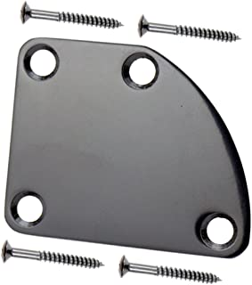 WANDIC Neck Plate, 4 Hole Curved Electric Guitar Neck Plate with Screws for Strat Tele Guitar Precision Jazz Bass Replacement, Black