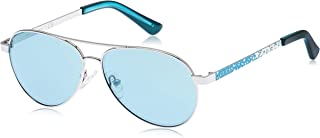 Guess Unisex Sunglasses GU918710X51 - Shiny Light Nickeltin/Blue Mirror Metal
