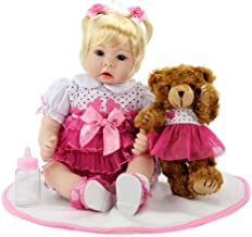 Aori Realistic Reborn Baby Dolls Lifelike Weighted Baby Blonde Girl Reborn Doll 22 Inch with Teddy and Accessories
