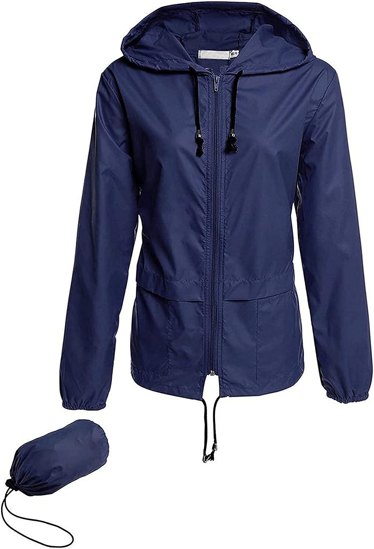Women's Waterproof Raincoat Outdoor Zipper Hooded Rain Jacket Windbreaker Patchwork Printing Thin Trench Coat