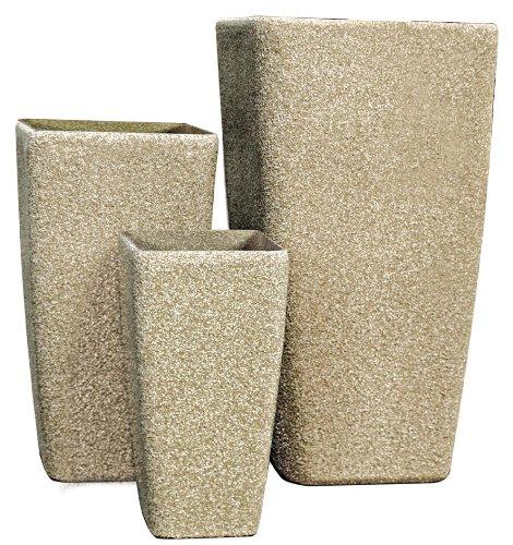 Pietra Luce SM Serie Set di 3 vasi di Pietra Artificiale Sandstone Beige Aspetto