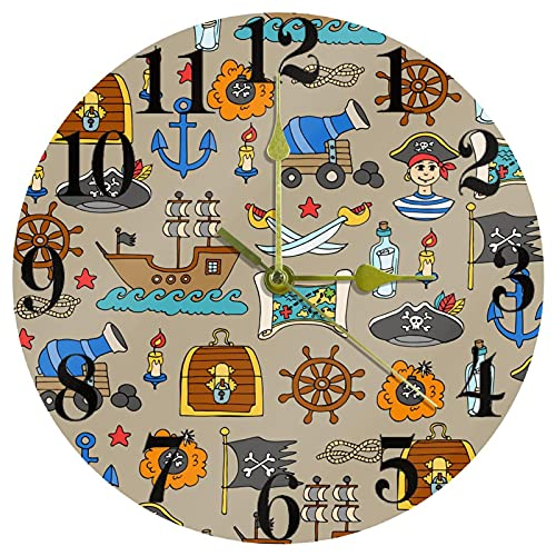 EZIOLY Pirates Adventures - Reloj de pared, 25,4 cm, silencioso, sin garrapatas, funciona con pilas, para el hogar/cocina/oficina/reloj escolar