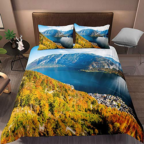 3d Print Landscape Double Bedding Duvet Set, Beautiful Sunset Lavender Double Duvet Cover Sets, Single And Double Romantic Duvet Cover 200×200CM A