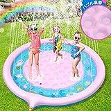 Lenbest 噴水マット プレイマット 噴水プール 170CM直径 ビニールプール おもちゃプレイマット 夏の日 子供用 水遊び 親子遊び 家庭用 アウトドア 芝生遊び 誕生日プレゼント
