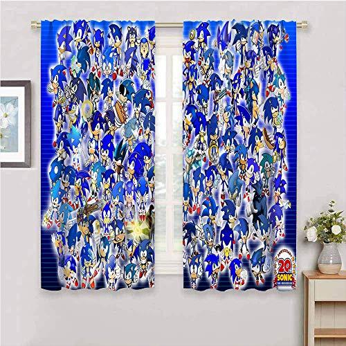 Cortinas opacas con bolsillo para barra para dormitorio Sonic the Hedgehog con aislamiento térmico para oscurecimiento de habitación, cortinas para sala de estar de 42 x 54 pulgadas