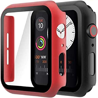 Hianjoo (2 Pack) Case Compatible with Apple Watch SE Series 6 Series 5 Series 4 44mm, Built-in Thin HD Tempered Glass Scre...