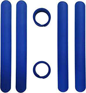 ZJT 6 Pcs Silicone Slap Bracelets, Snap Bracelets Soft Comfortable Wearing Silicone Wristbands Party Supplies for Boys and Girls,Slap Bands Ideal Children Gifts.(Dark Blue)