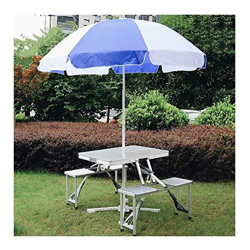 Mesa plegable portátil plegable con capacidad de carga de sombrilla de aleación de aluminio, 85,5 x 67 x 67 cm, apta para interior y exterior camping, gris, 2.4m umbrella
