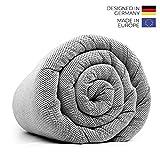 LEVIA Gewichtsdecke (7KG) für gesunden Schlaf | Therapiedecke inkl. kühlendem Bezug | Farbe: Schwarz/Weiß | Größe: 140 x 200cm | Material: Baumwolle | Made in Europe …