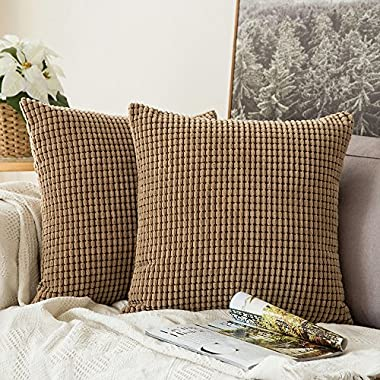 Miulee Pack of 2, Corduroy Soft Soild Decorative Square Throw Pillow Covers Set Cushion Case for Sofa Bedroom Car18 x 18 Inch 45 x 45 Cm