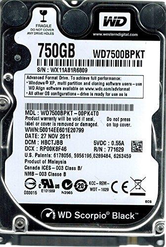 Western Digital wd7500bpkt-00pk4t0750GB DCM: hbctjbb