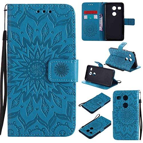 pinlu® PU Leder Tasche Etui Schutzhülle für LG Nexus 5X (5,2 Zoll) Lederhülle Schale Flip Cover Tasche mit Standfunktion Sonnenblume Muster Hülle (Blau)