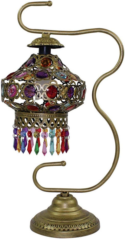 HeartRain Nachttischlampe Atmosphre Lampe Retro Schmiedeeisen Romantisch Warm Kreativ Handgefertigt Perlen Schlafzimmerlampe, Brauchen 1 E14 Lichtquelle